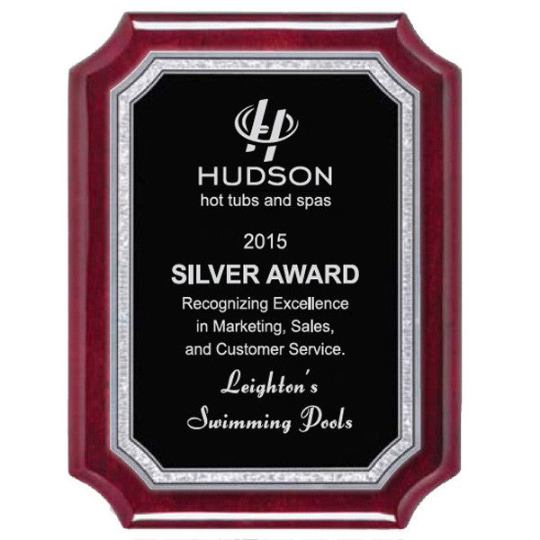 Piano Finish Plaques - Rosewood Scallop Silver Florentine Plate (A2899) - Quest Awards