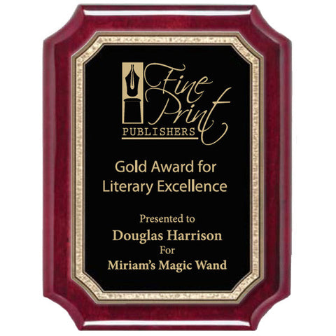 Piano Finish Plaques - Rosewood Scallop Gold Florentine Plate - Quest Awards