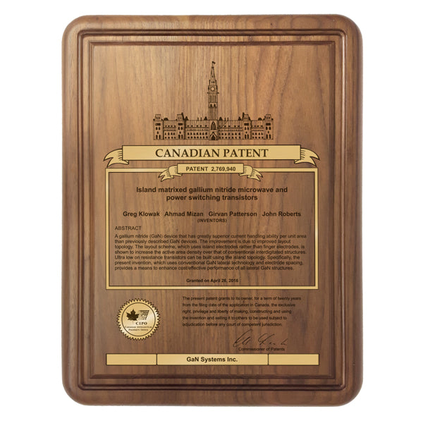 Canadian Patent Plaque - Solid Walnut (A2260) - Quest Awards