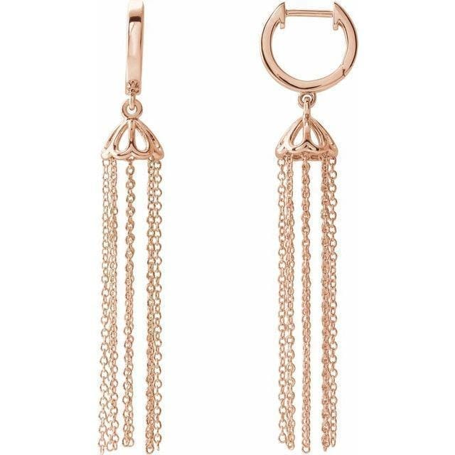 14K Rose 53.2 mm Hinged Hoop Chain Earrings at Regard