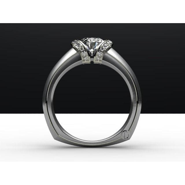 Modern Shoulder Channel Engagement Ring by Regard Jewelry in