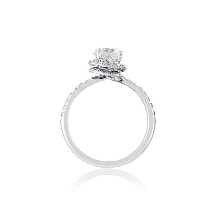 Twisted Diamond Halo Engagement ring with Diamond Shank by