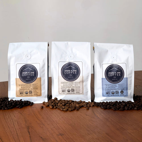 Three Blends - Mountain, Espresso, and Decaf Blends - Organic Whole Coffee Beans 3 12oz Bags