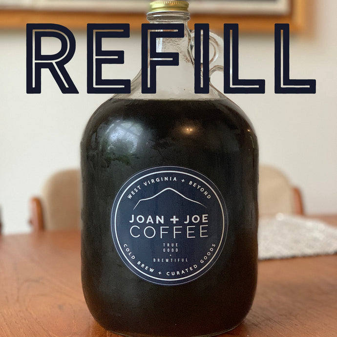Fresh Organic Joan + Joe Coffee Cold Brew Gallon Glass Growler Refill