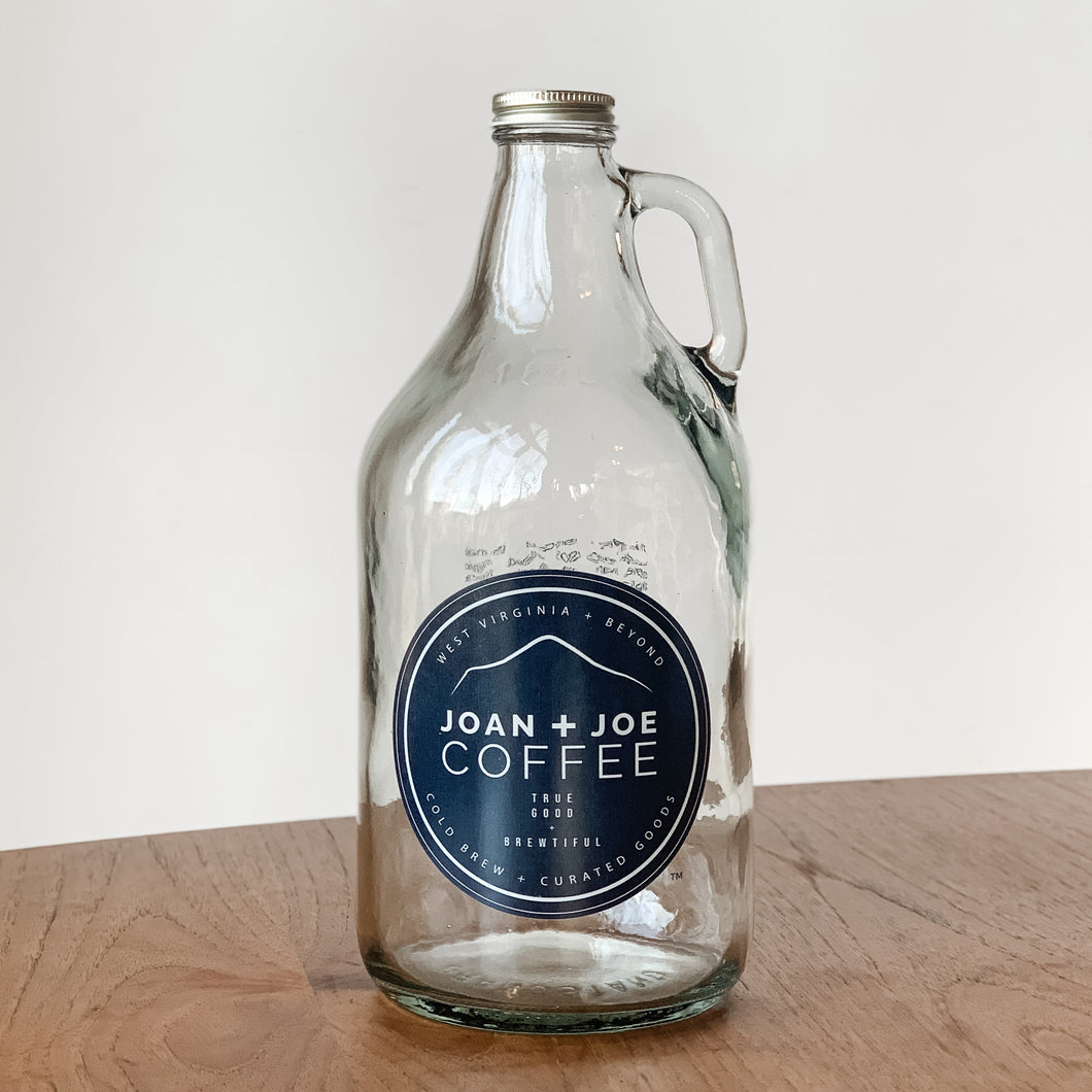 Joan + Joe Coffee Half Gallon Glass Growler