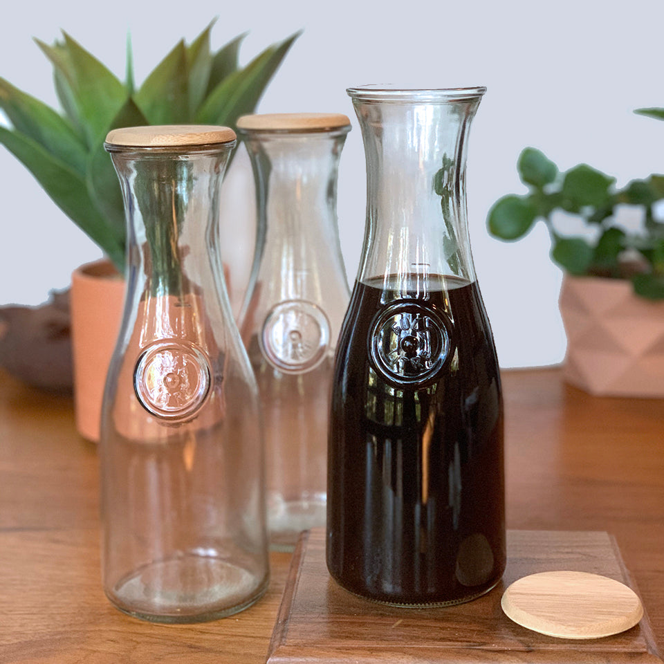 Glass Coffee Carafe with Bamboo Lid