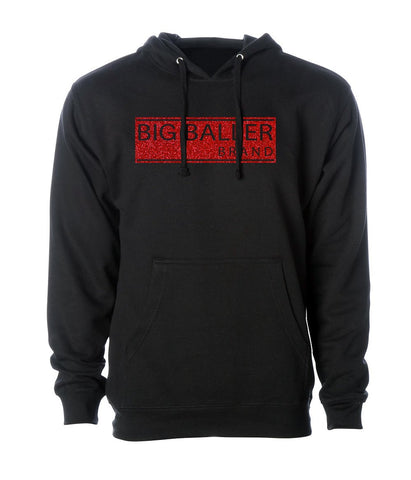 Big Baller Brand Red Diamond Glitter Closed Bar Hoodie