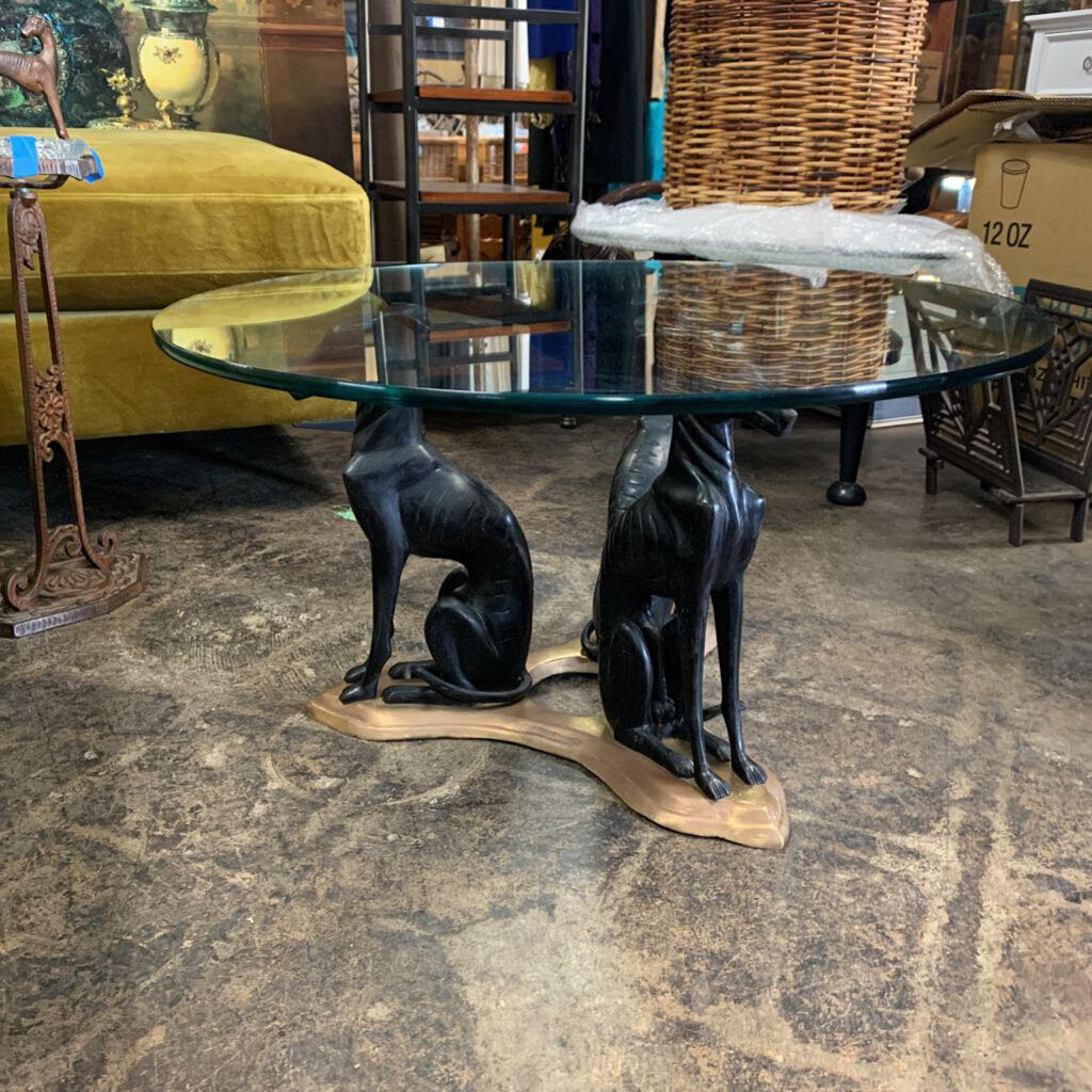 Glass Table W Bronze Greyhounds on Brass