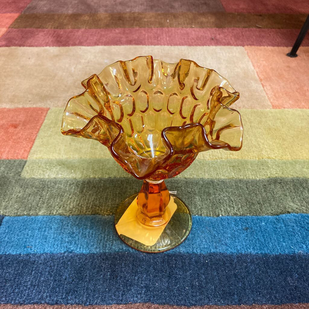 Amber Ruffled Candy Dish