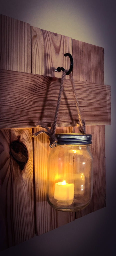 Lantern - Pallet Wood Board & LED Candle in a Mason Jar w/ Rope
