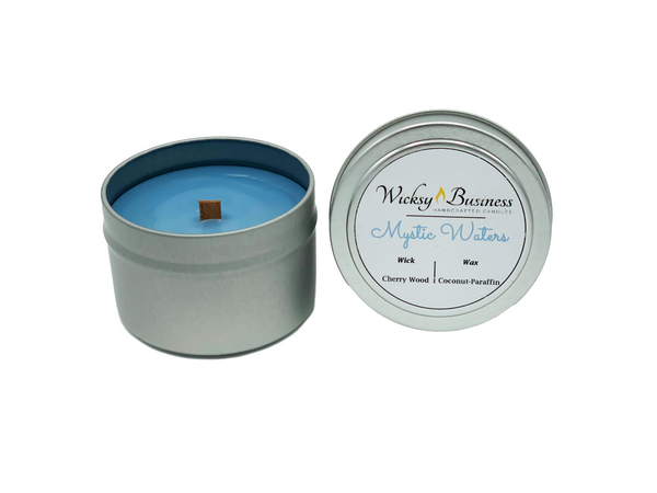 Wicksy Business | Mystic Waters | Wood Wick Coconut-Paraffin Candle Travel Tin
