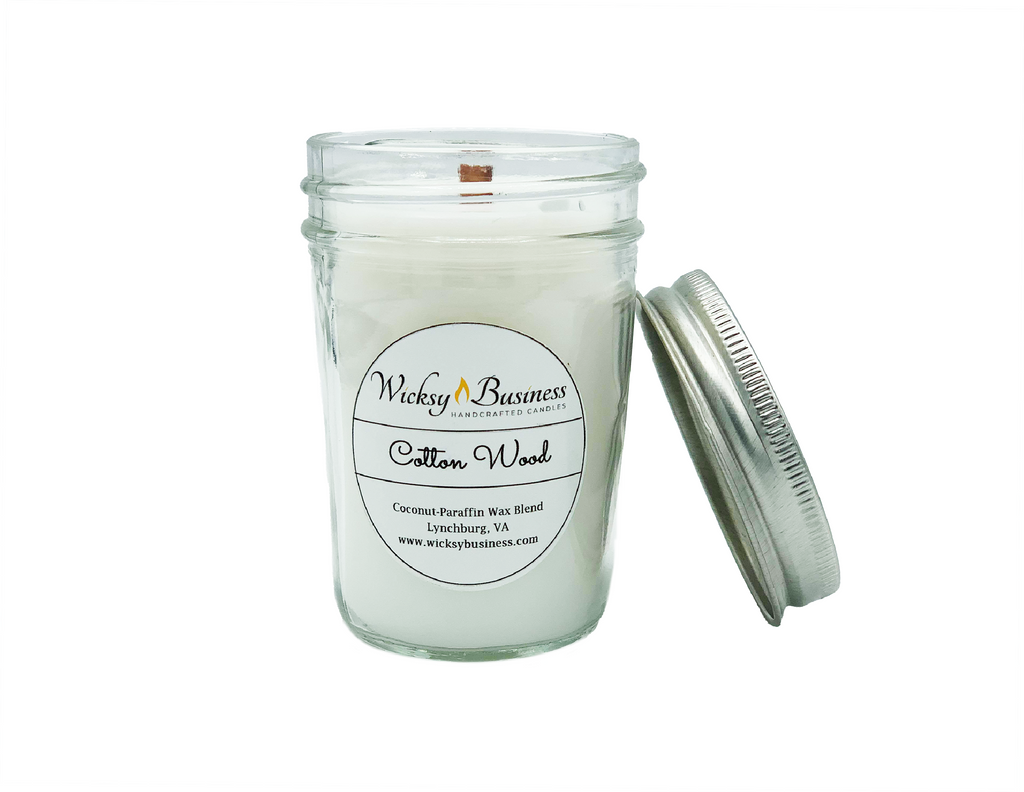 Cottonwood | 8 oz Jelly Jar | Wood Wick | Coconut-Paraffin Wax Blend Candle