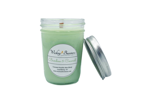 Bamboo & Coconut | 8 oz Jelly Jar | Wood Wick | Coconut-Paraffin Wax Blend Candle