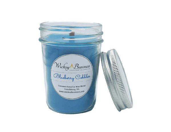 Blueberry Cobbler | 8 oz Jelly Jar | Wood Wick | Coconut-Paraffin Candle