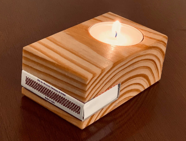 Wood Tea Light Candle and Matches Holder
