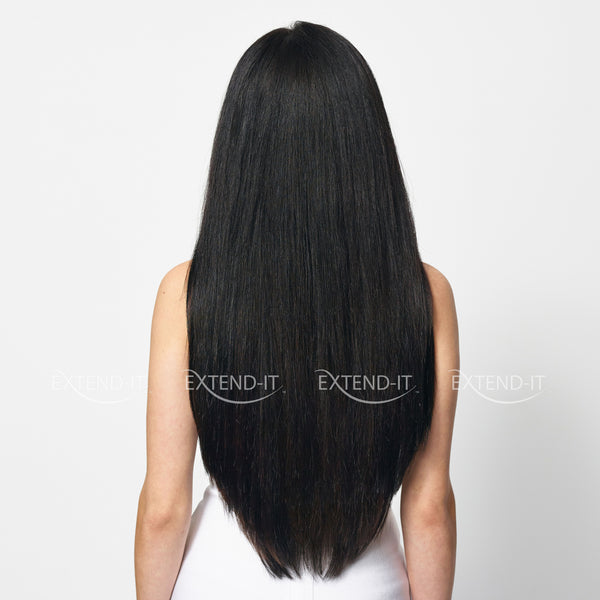 #1 Jet Black Midnight Hair Extensions Extend-it Model Back