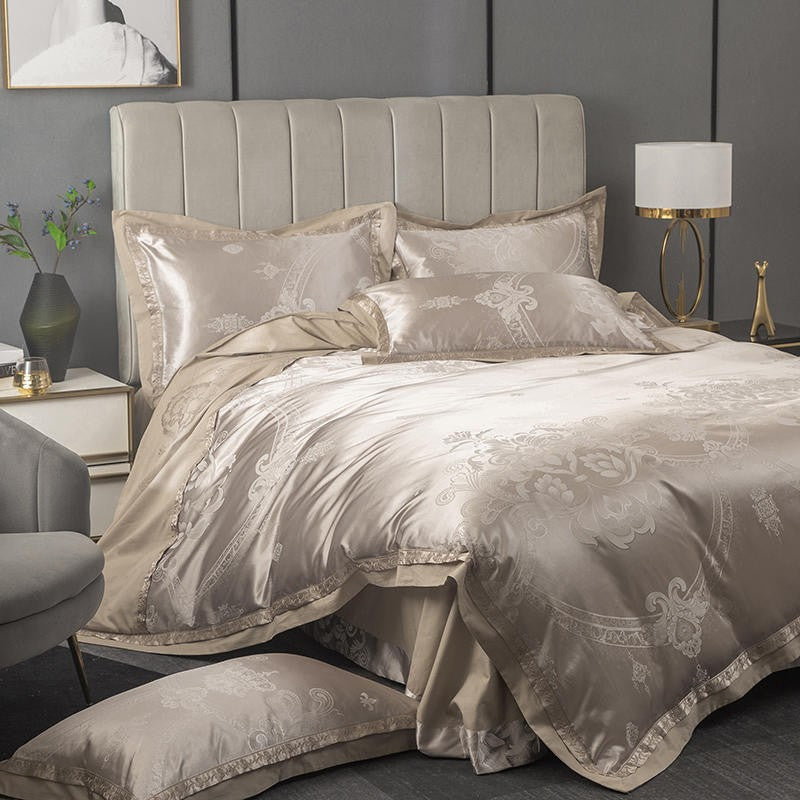 Luxury Espresso Jacquard Bedding Set