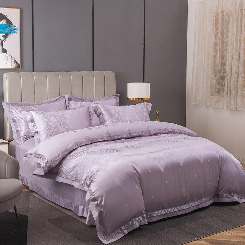 Luxury Iris Jacquard Cotton Bedding Set