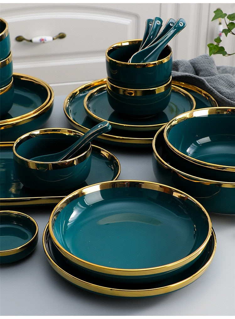 Green Ceramics Tableware Set
