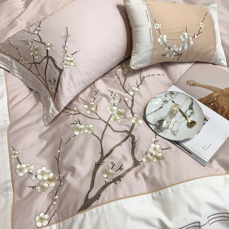 Peach Schnapps Embroidery Duvet Cover Set