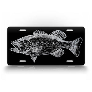 Classy Silver Bass Fish Fishing Novelty License Plate