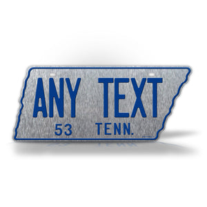 Custom Text Silver Tennessee State Shaped 1953 License Plate