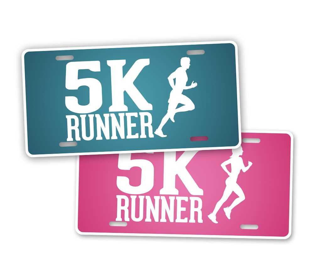 5K Runner License Plate Blue and Pink Running Auto Tag