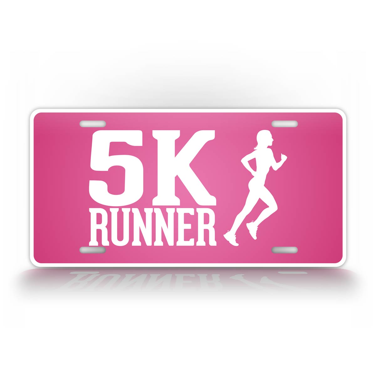 5K Runner License Plate Pink Running Auto Tag