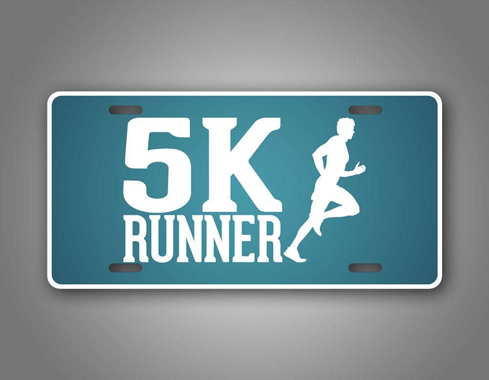5K Runner License Plate Blue Running Jogger Auto Tag