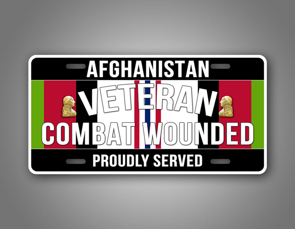 Afghanistan Campaign Veteran Combat Wounded License Plate