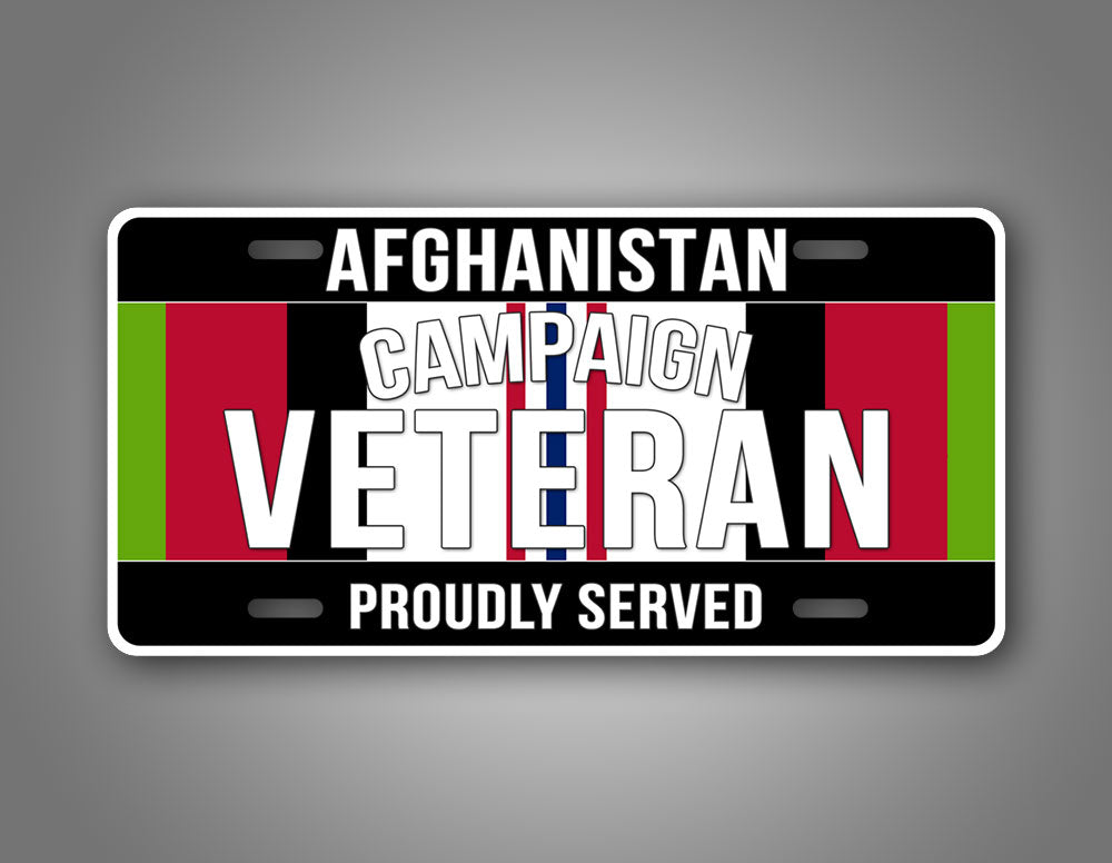Afghanistan Veteran Proudly Served License Plate