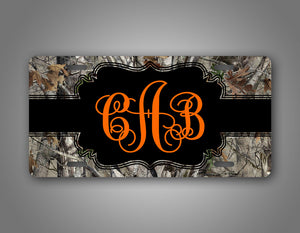 Personalized Camo Hunting Monogram License Plate
