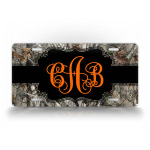 Custom Camo Hunting Orange Monogram License Plate