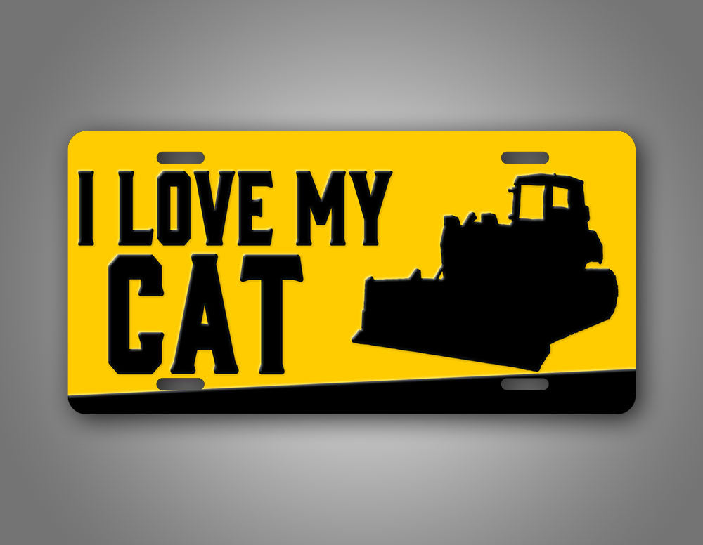 Heavy Bulldozer I Love My Cat License Plate