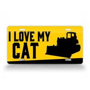 I Love My Cat Bulldozer License Plate