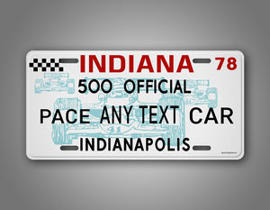 Personalized Indianapolis 500 Official Pace Car Custom Car License Plate