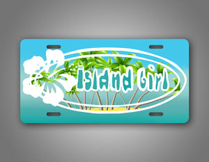 Island Girl Beach Girl Tropical License Plate Auto Tag