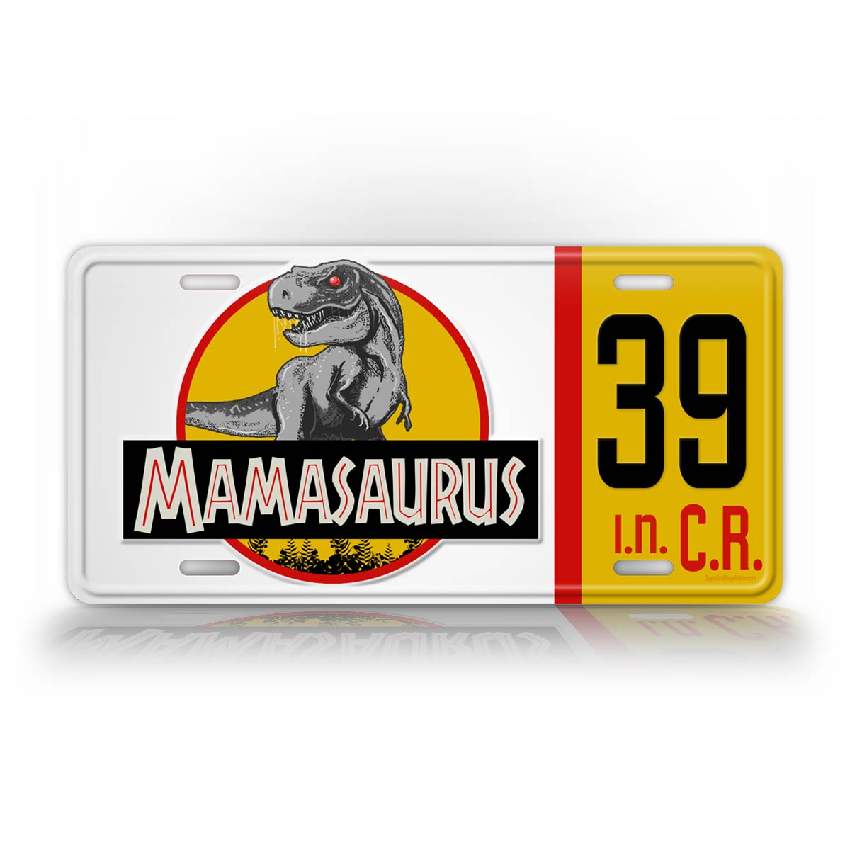 Personalized Mamasaurus Jurassic Park World Jeep License Plate