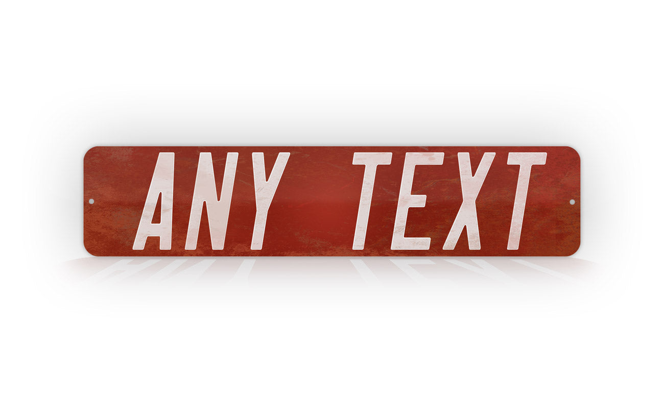 Personalized Custom Antique Style Red Street Sign