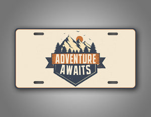 Adventure Logo Adventure Awaits License Plate