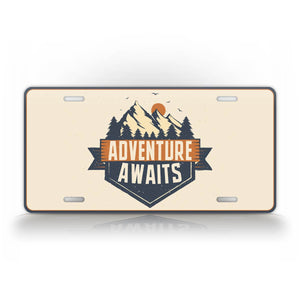 Adventure Awaits Exploring Style License Plate