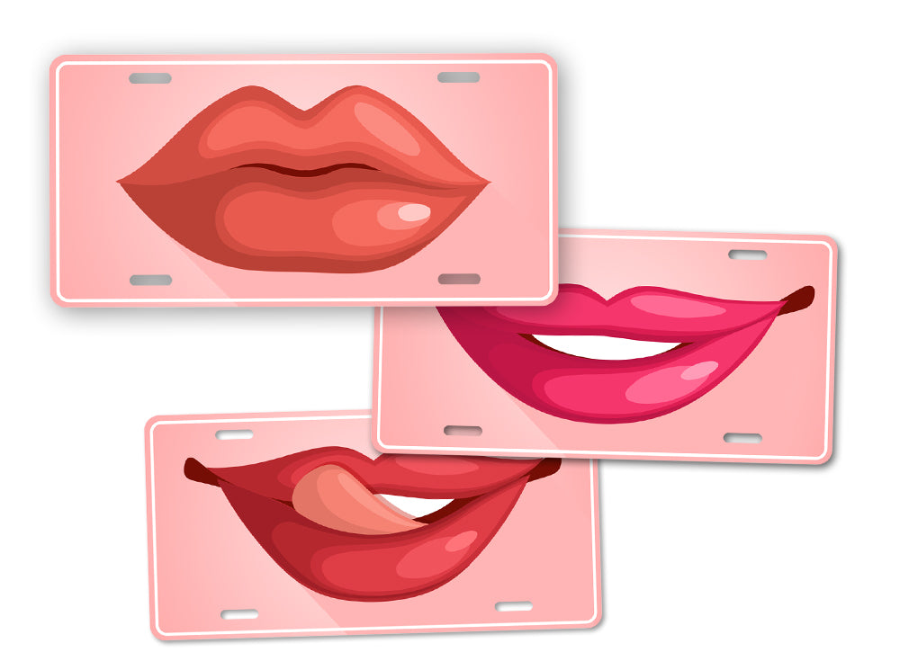Hot Lips Kissing Lips Lipstick License Plate