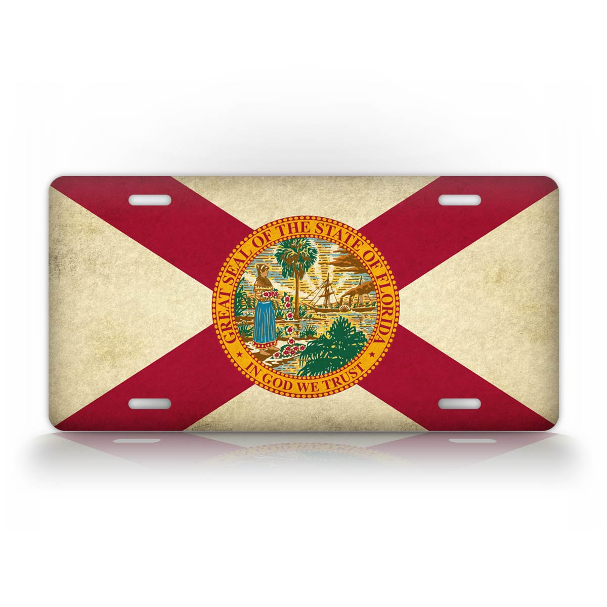 Americana Gunge Textured Georgia State Flag License Plate