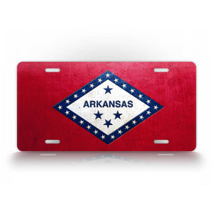 Weathered Metal Arkansas State Flag License Plate