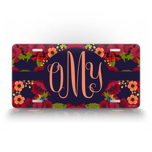 Autumn Flower Monogram License Plate