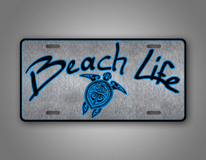 Silver Beach Life License Plate With Sea Turtle