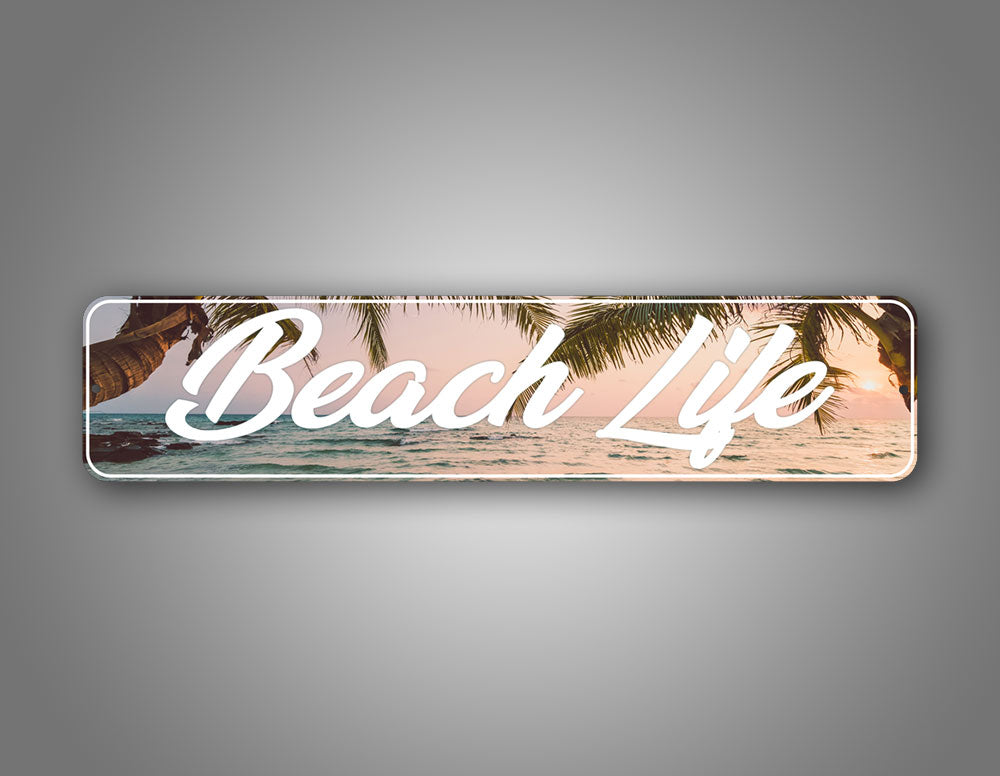 Personalized Any Text Artistic Font Beach Palm Tree View Street Sign