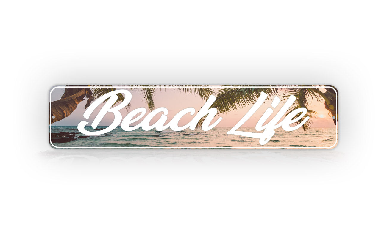 Personalized Text Artistic Font Beach Palm Tree View Street Sign