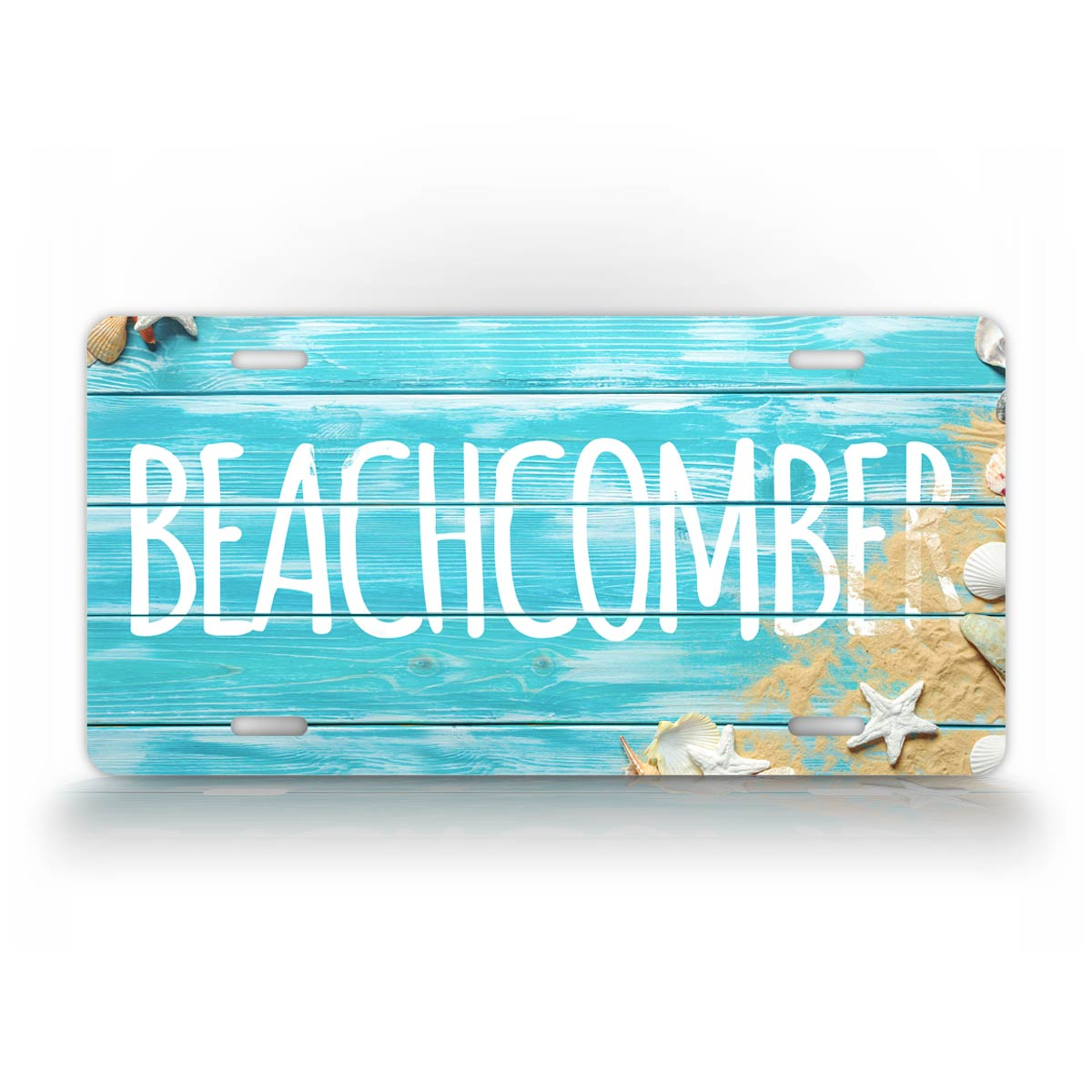 Vibrant Beachcomber License Plate With Sea Shells And Sand