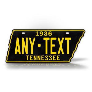 Custom Text 1936 Tennessee State Shape License Plate